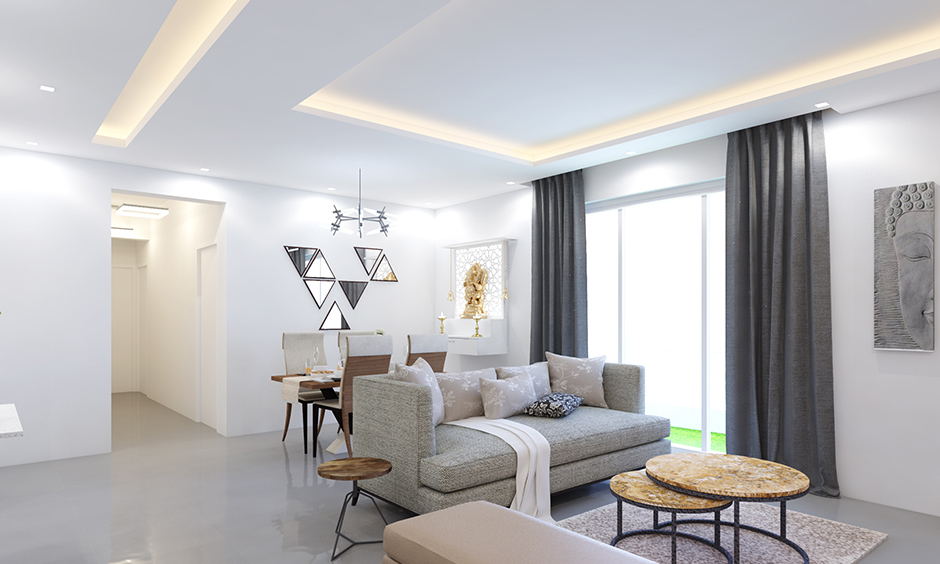 Cove lighting type of false ceiling lighting is sophisticated and understated for living room ceiling lighting ideas.