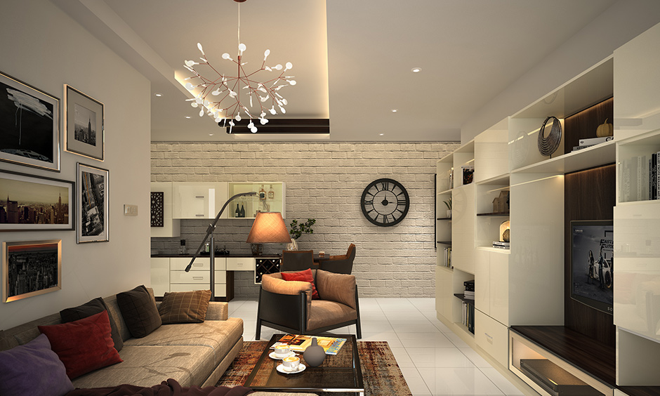 The living room ceiling lights have a recessed and cove lighting decorative element of the interior design.