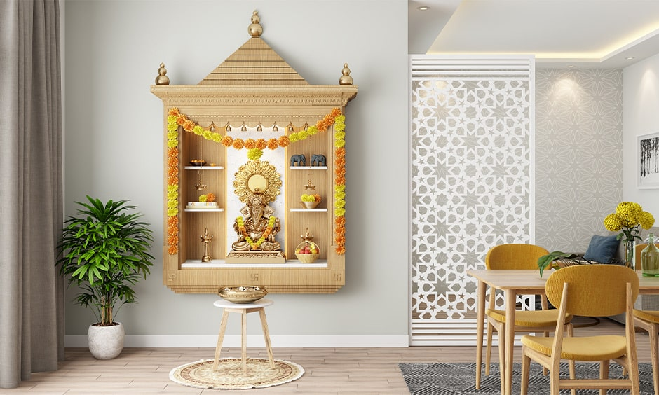 Mandir design in wall for your home