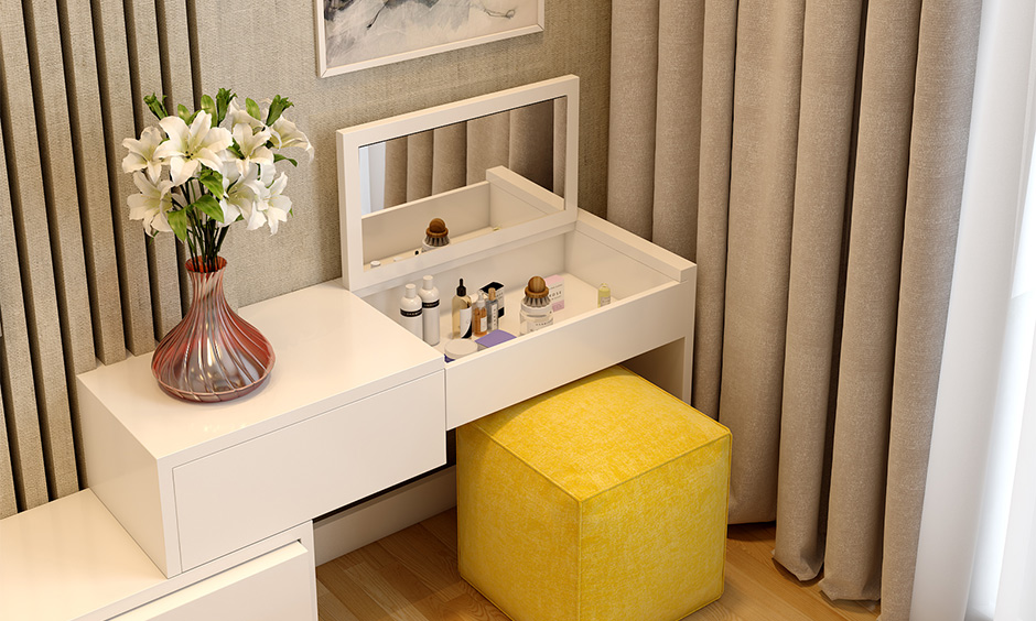 Dressing table new design with pop up mirror where the dressing table folds up, revealing a mirror on the inside
