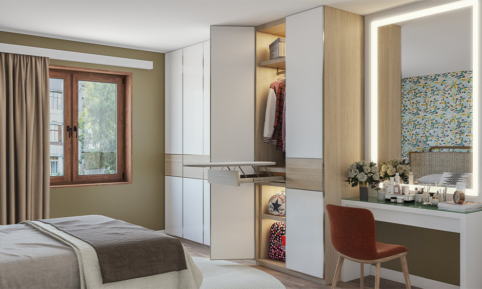 Wardrobe cum best dressing table designs with four shutter wardrobe made with lacquered glass