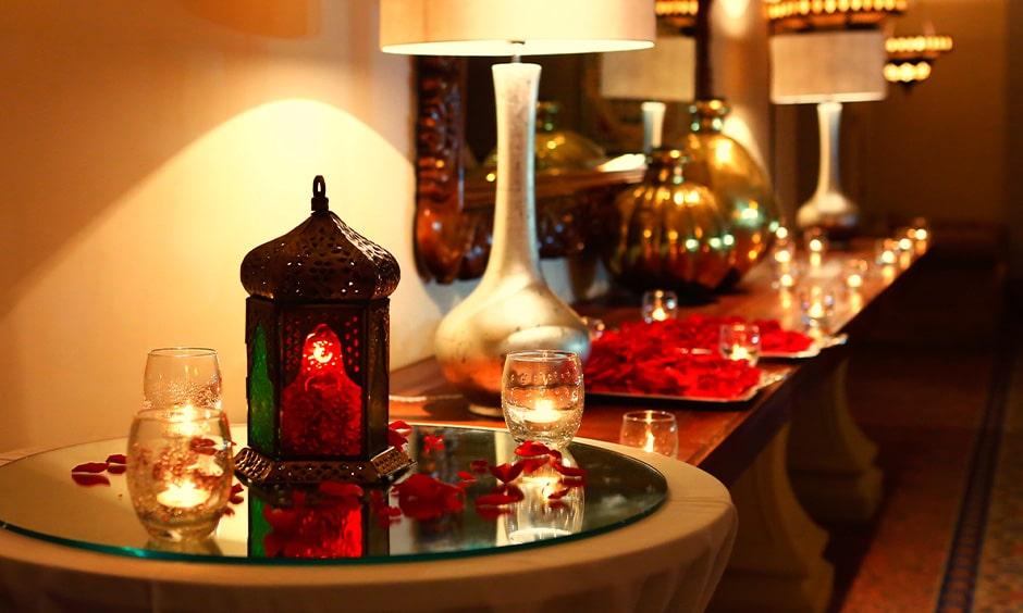 How to make diwali lamp - diwali lighting design with lanterns, candles and petals