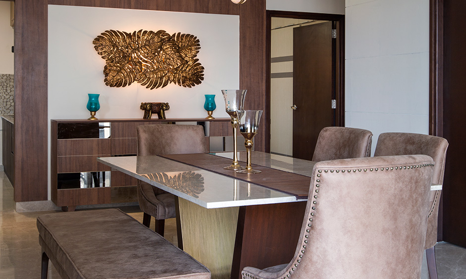 dining room designed by best interior design company in bangalore