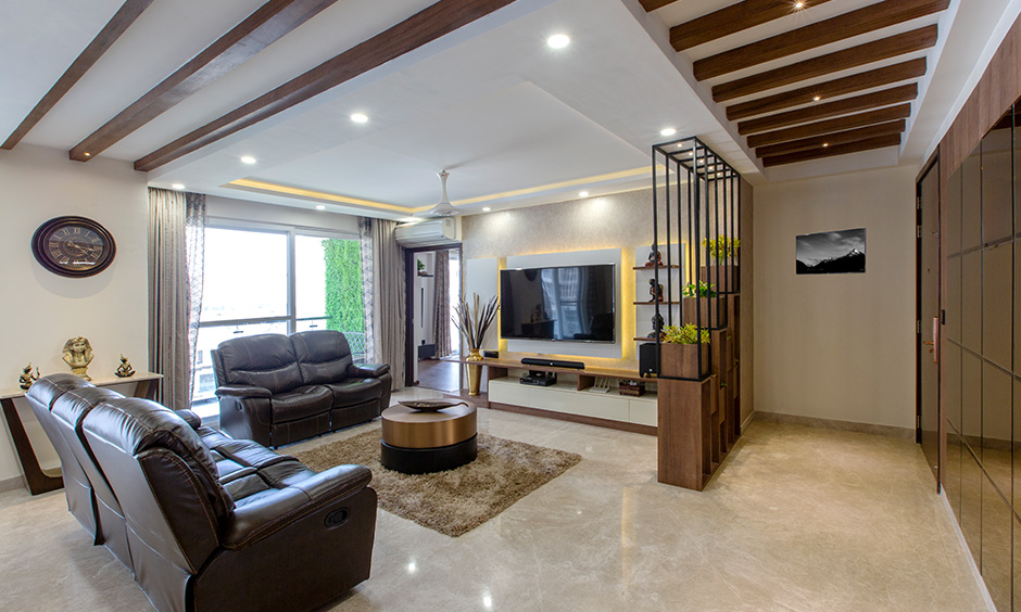 Living room designed by one of the best interior design firms in bangalore
