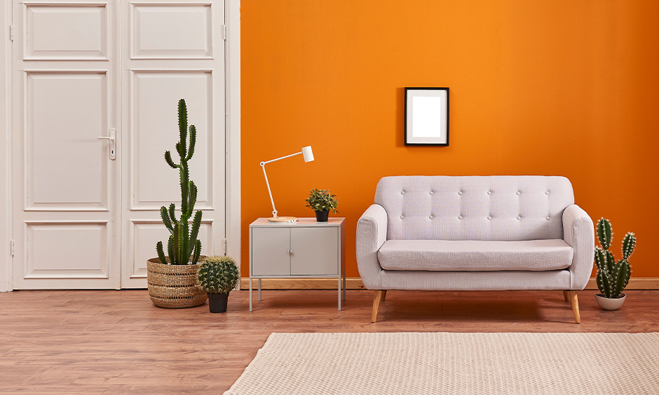 A tangy colour combination for hall where orange wall is a white door with wooden panelling work