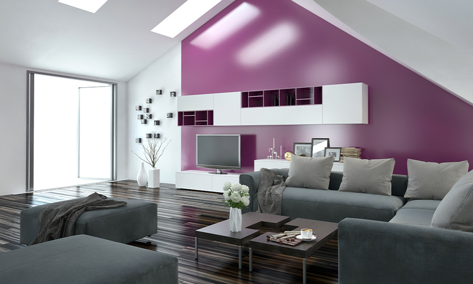 A purple two colour combination for hall walls which is known to be a magical colour that represents imagination