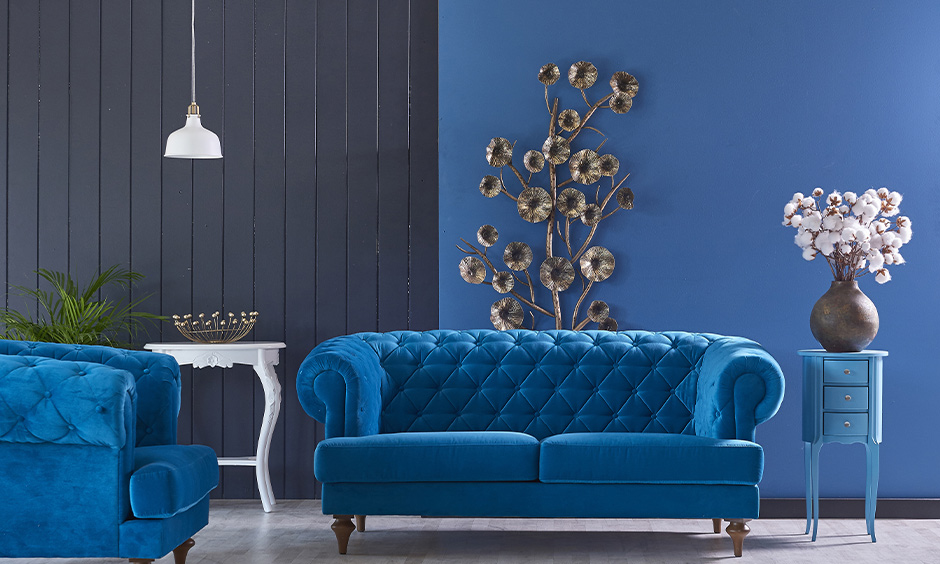 A beautiful blue colour combination for simple hall known to be the colour of trust