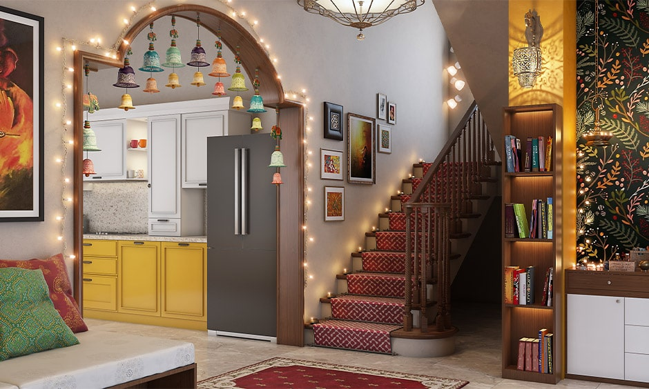 Navratri decoration ideas for living room with bells and fairy lights