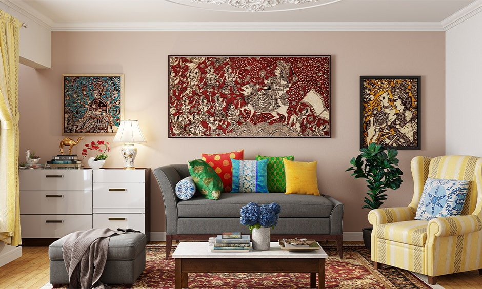 Navratri decoration at home with paintings of mythological characters