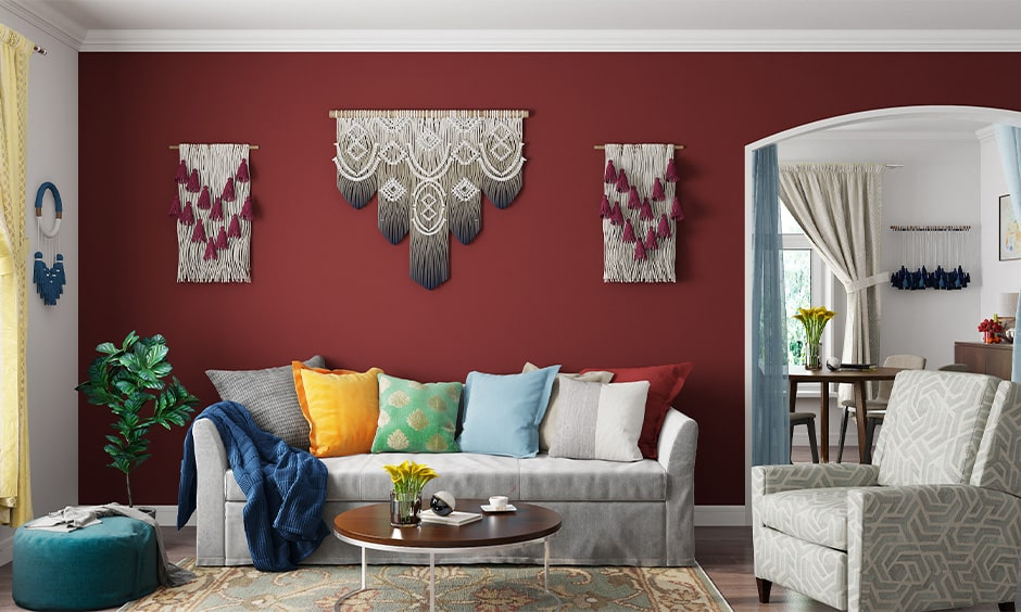Navratri decoration with pretty multicoloured crochet hangings