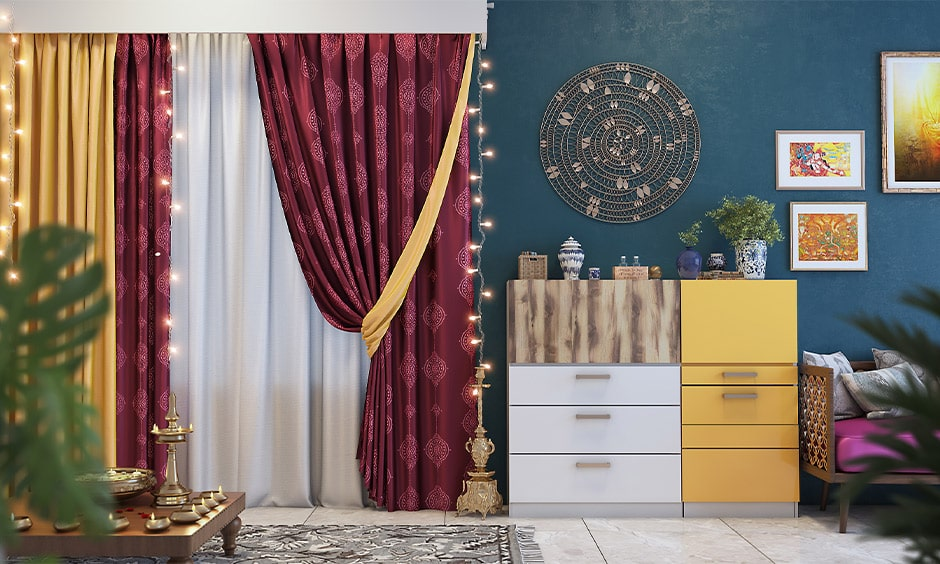 Simple navratri decoration at living room with wine red curtains