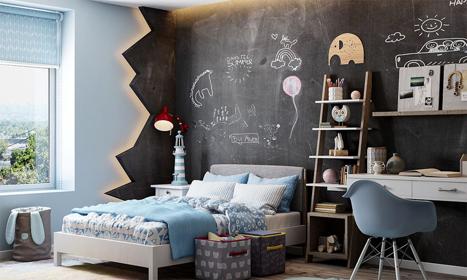 One showpiece wall chalkboard paint for kids room with backlit lighting looks adore with the study table