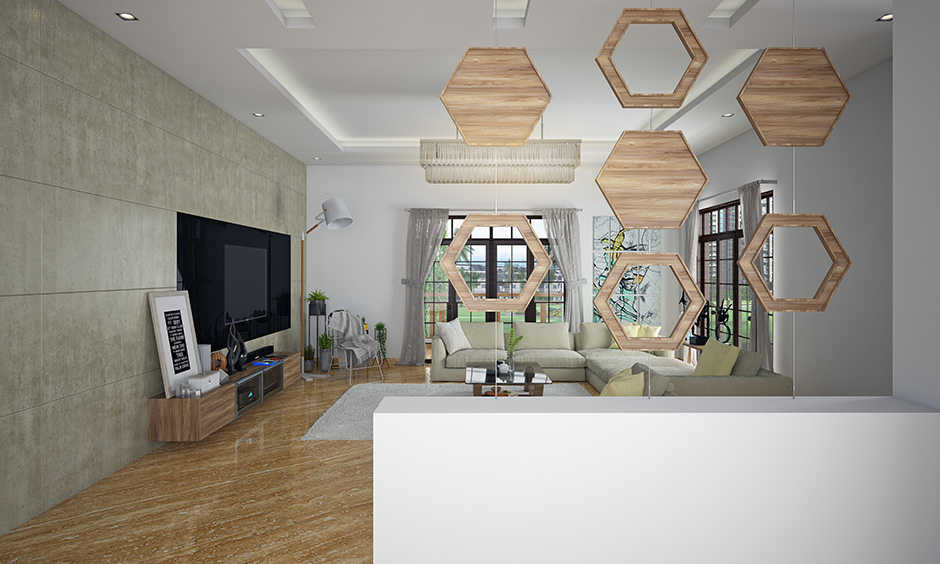 Artistic home partition design in a mix of metal and wood look a piece of decor at home.