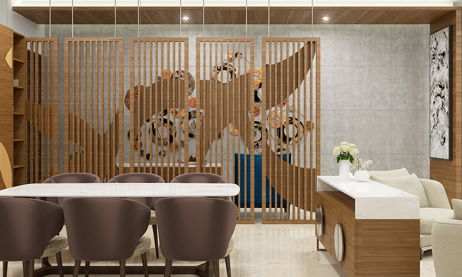 Contemporary partition design creates an art oasis that seamlessly separates your spaces at home partition ideas.