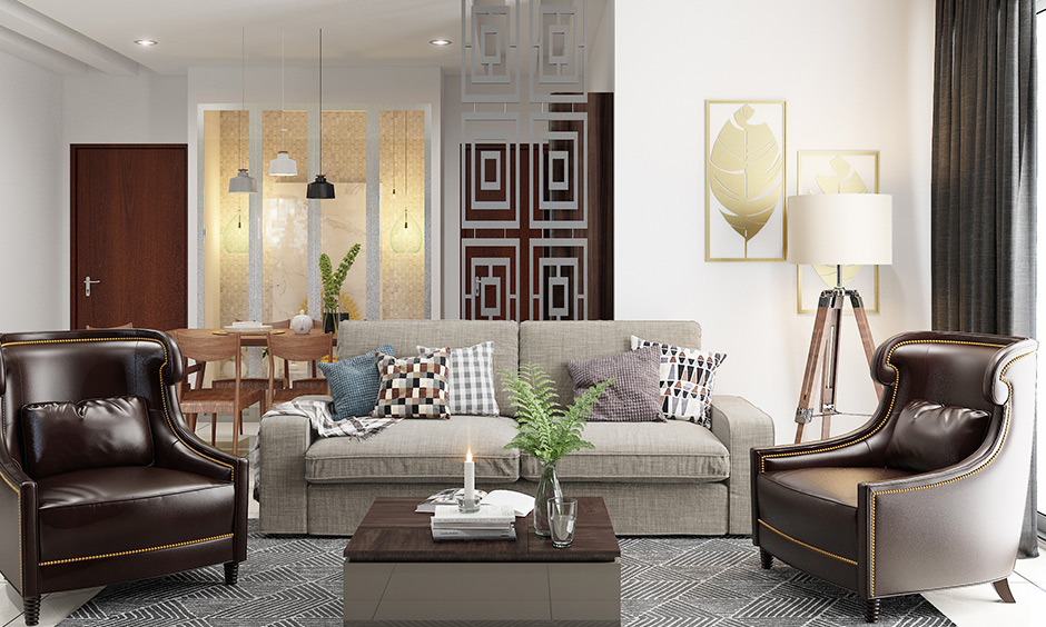 Metal partition design personalised between living and dining room is classy.