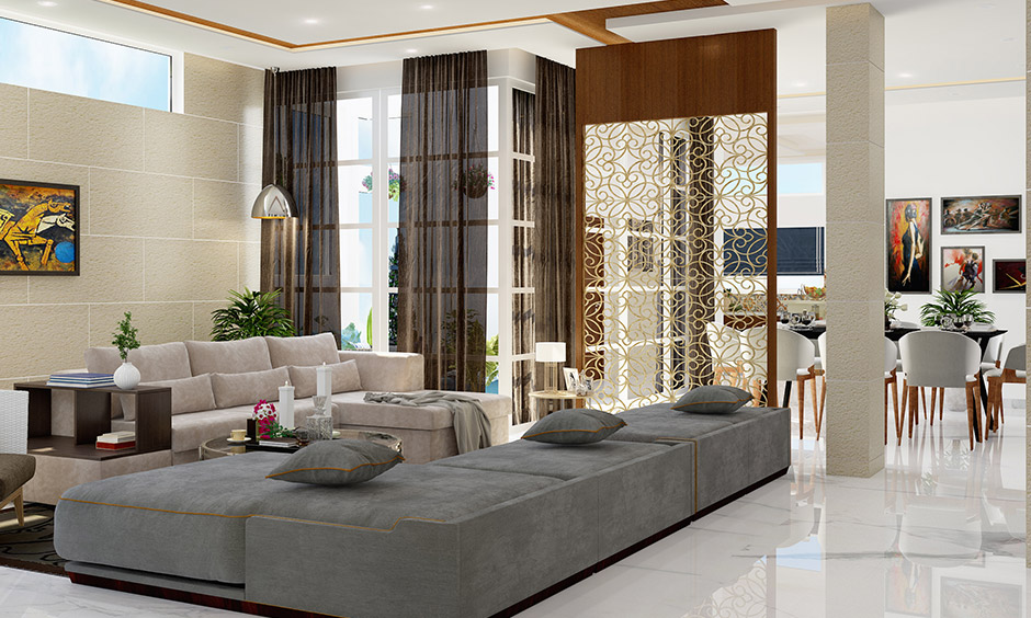 Wood and intricate metal create a modern partition design and grants a rich texture is partition ideas.