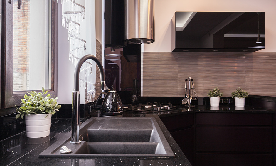 black countertop kitchen for your home
