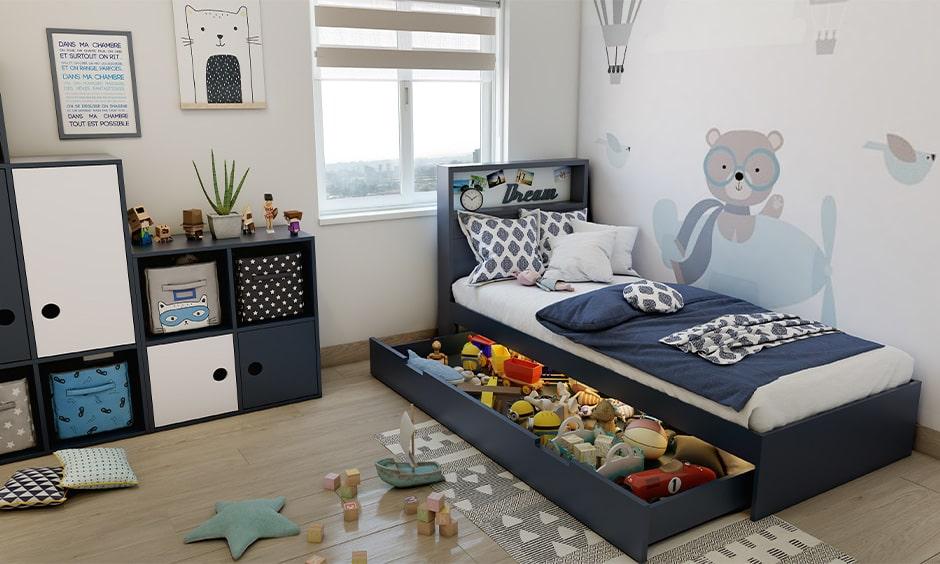 Corner bed design for a kids bedroom