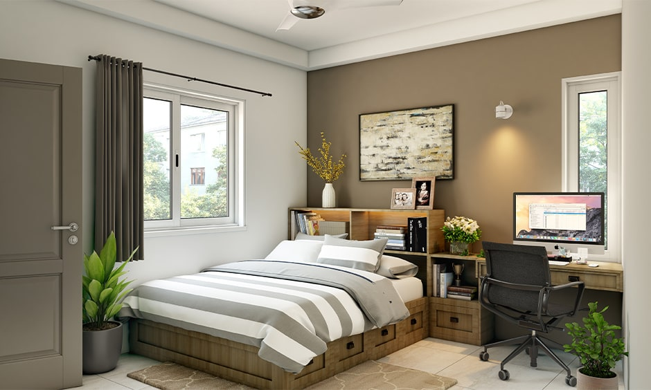 Corner bed for small bedroom with drawers, open shelves as headboard, bedside table and study unit