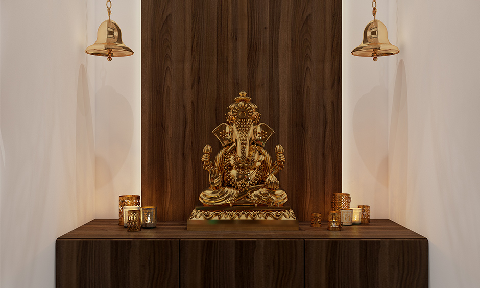 Space-saving plyboard mandir design provides the optimum interplay of form and function perfect for a cosy apartment