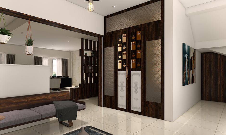Frosted glass door for pooja room with a few patterns and carvings