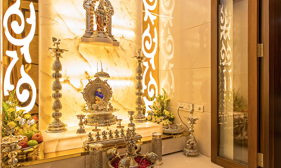 Plain pooja room glass door design photos which lights up space with its abundant gush of light