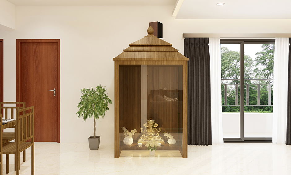 Classic pooja room glass door designs images with a clear, smudge-free and no-frills attached