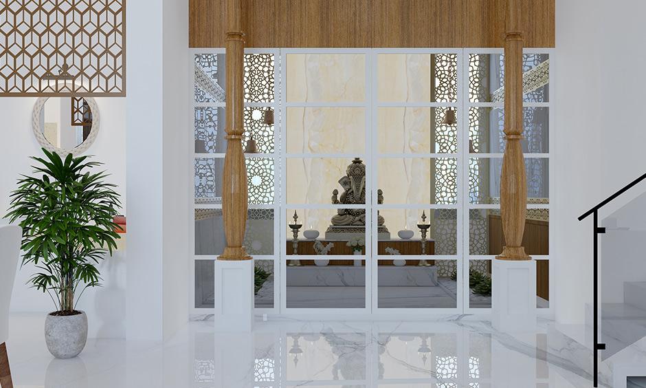 Pooja room door designs with glass