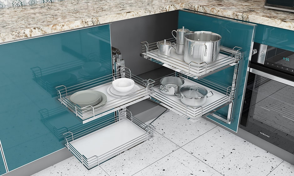 Modular steel baskets for modular kitchen accessory design for any kitchen