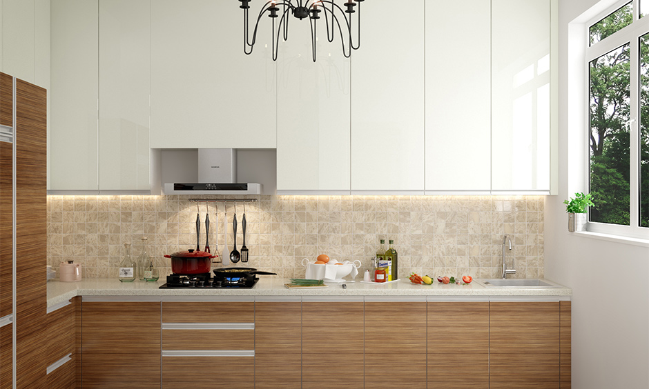 Minimalistic Indian decor kitchen with chandelier with texture and sheen makes your kitchen beautiful.