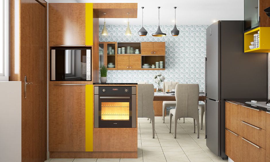 Wallpaper makes the kitchen more interesting with patterns or texture is small Indian kitchen decorating ideas.