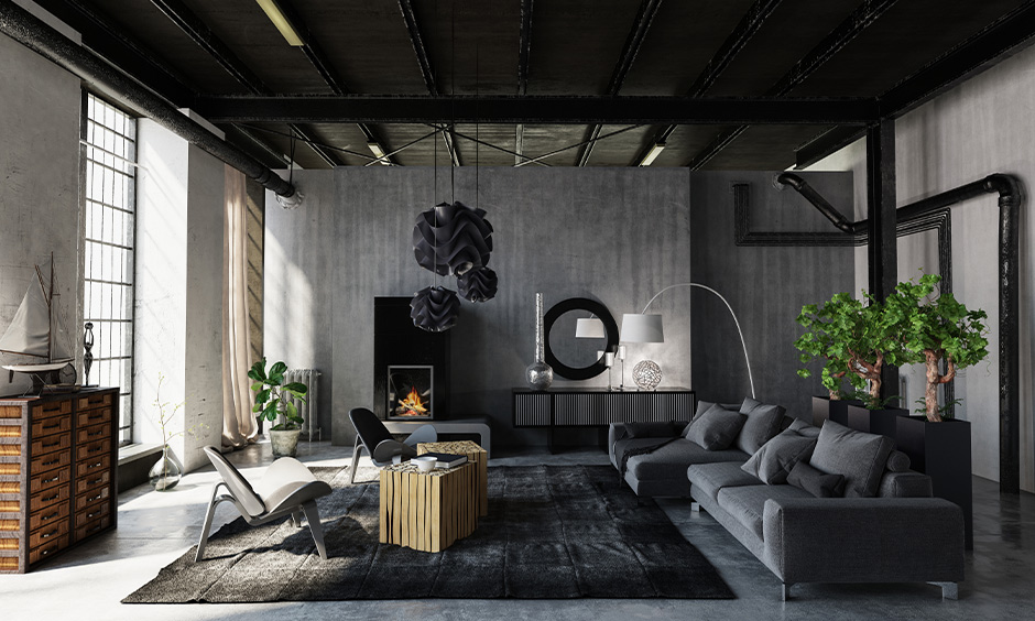 Living room false ceiling painting in a bold black shade create a space of your dreams but also make looking up pretty lit