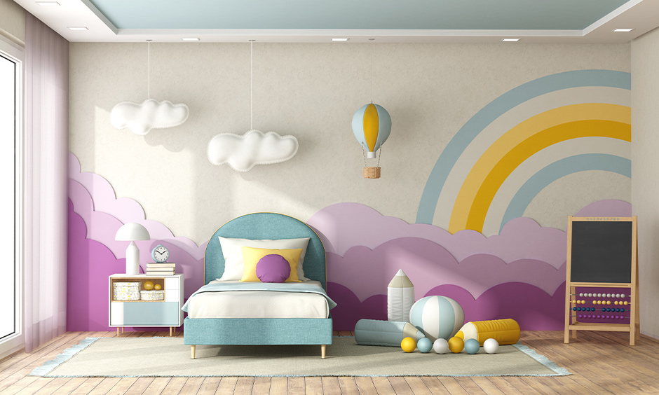 Kid room with rainbow-themed wall and ceiling paint with matt finish look artsy and chic.