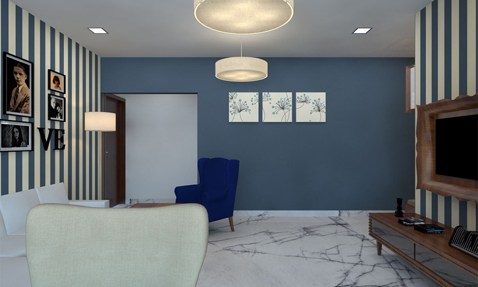 Living room with blue and cooler hues like that of green ceiling paint colour stand out and yet give much attention.