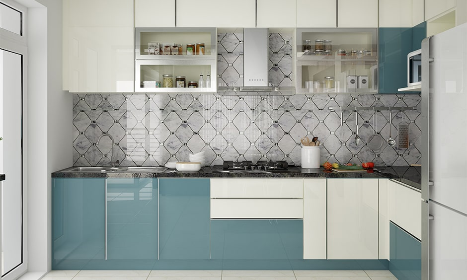Kitchen cupboards ideas for small kitchen with lacquered glass cupboards in blue and white