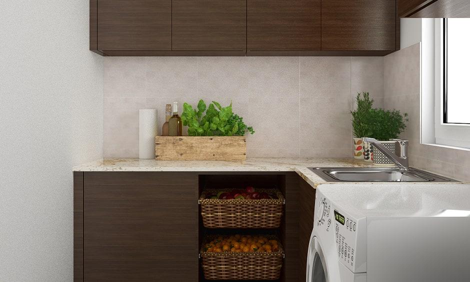 Small kitchen cupboard designs with dark wood cupboards for storage