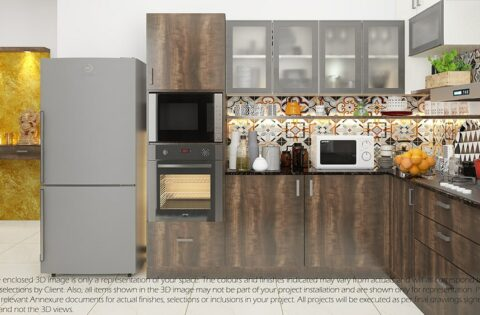 Small kitchen cupboards with a dado tile backsplash and laminate finish