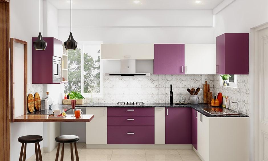 Small space kitchen cupboard designs with a black granite countertop