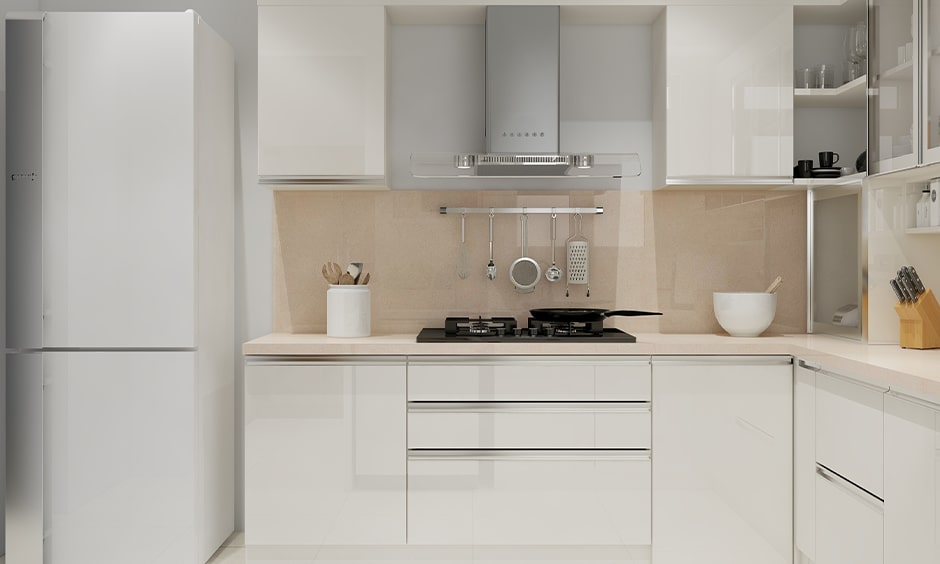 Small kitchen cupboard designs with white lacquered glass cupboards