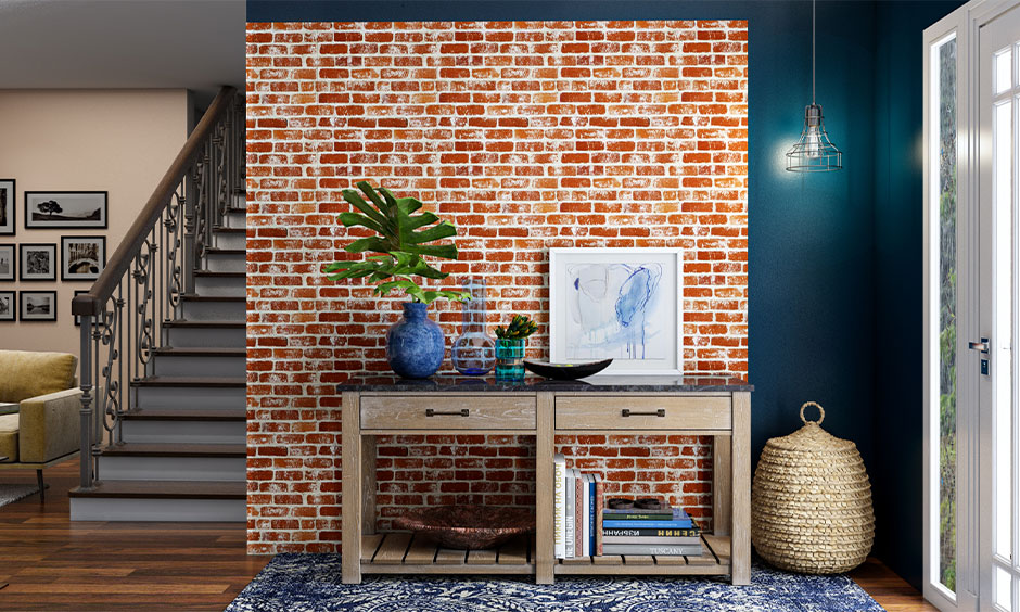 Faux brick-patterned half wallpaper half paint hallway lends an industrial flavour looks luxurious, refreshing and rustic.