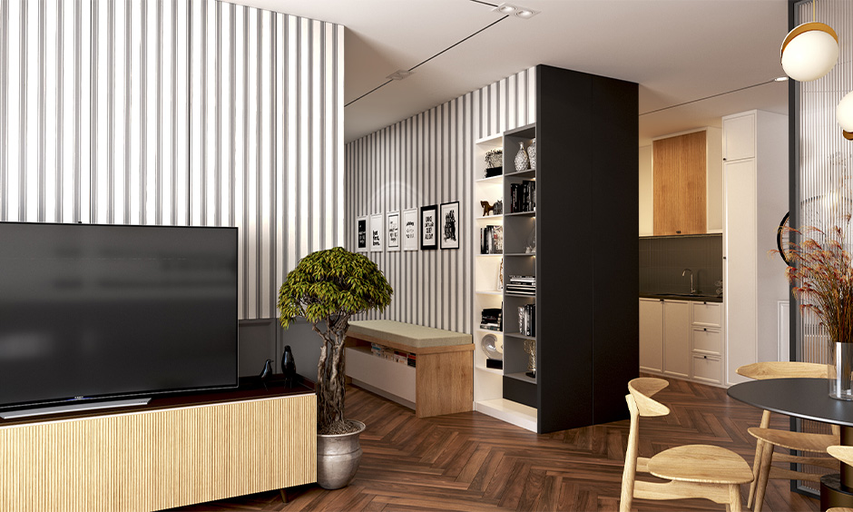 Combination of grey and white hallway wallpaper in stripes on a wall look luxury and chic.