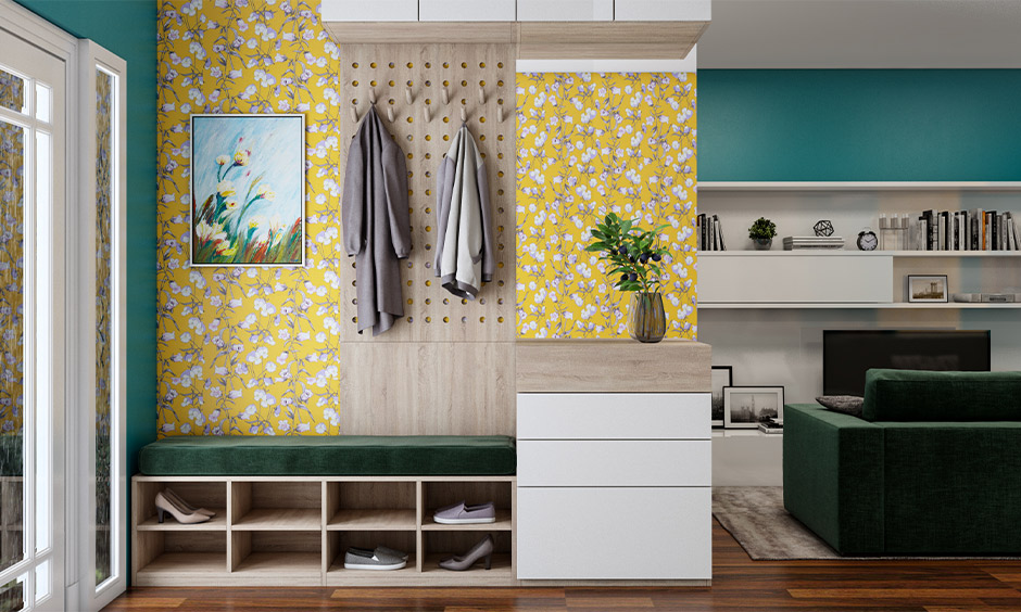 Neutral wallpaper for the hallway in a floral pattern with yellow colour makes it luxury wallpaper for hall.