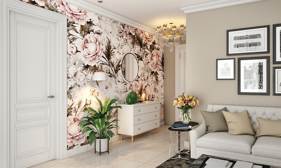 Florals wallpaper and patterned tiles of the same colour works well is the best hallway wallpaper ideas.