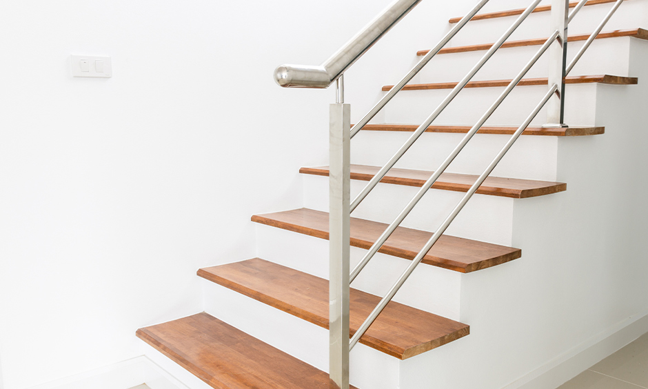 Simple steel staircase design outdoor with minimalistic style steel staircase design
