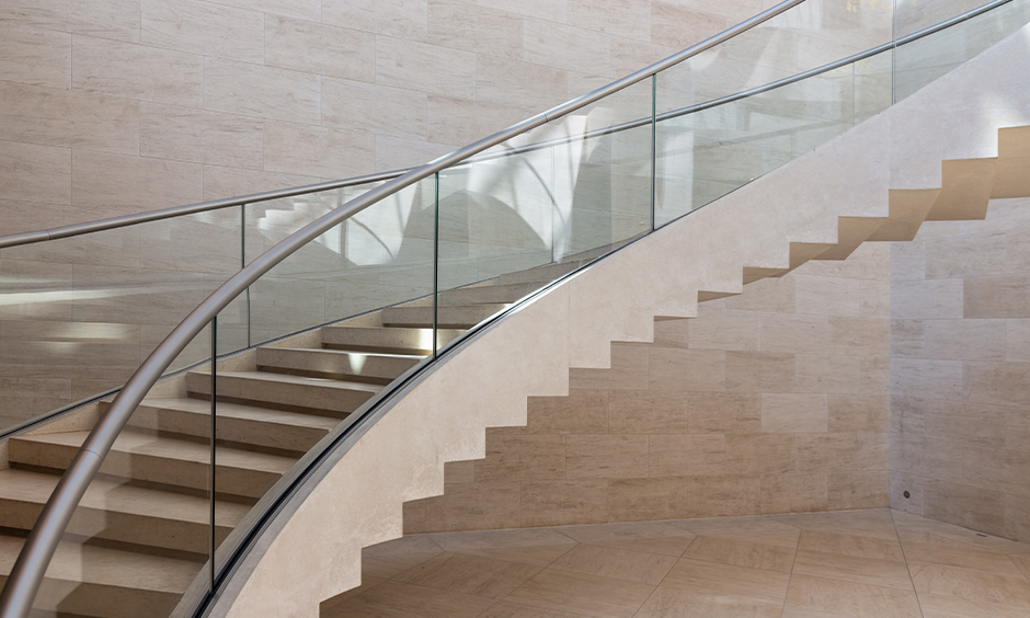 Glass and steel and timber staircase design which is undoubtedly made in heaven