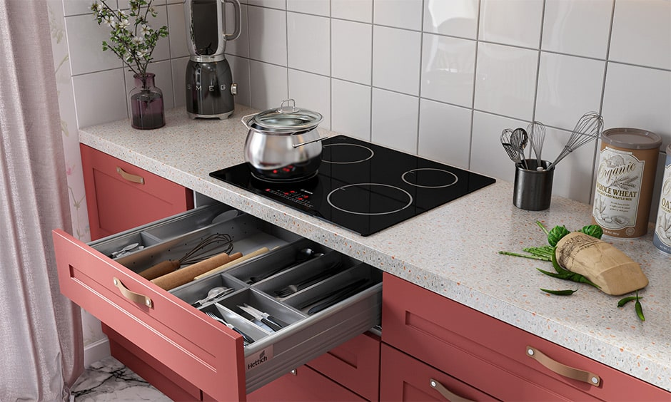 Cutlery tray as kitchen drawer organizer ideas makes customizable and modular kitchens