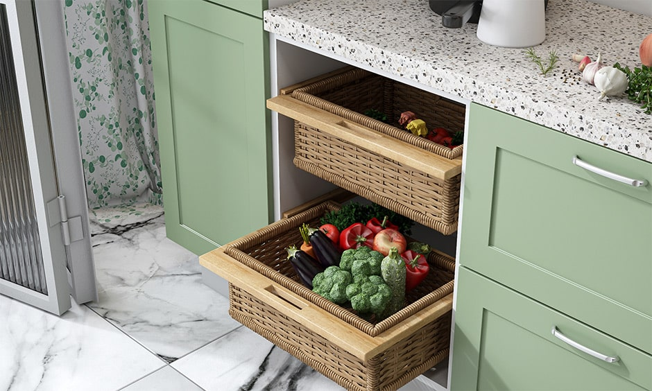 From sleek modern kitchens to industrial kitchen designs, wicker baskets are all the rage these days. They are not only functional but aesthetically pleasing with their intricate weaves. They are usually used to store groceries like vegetables, fruits that do not require refrigeration. Wicker baskets are easy to maintain, clean and repair, making them a great storage option.