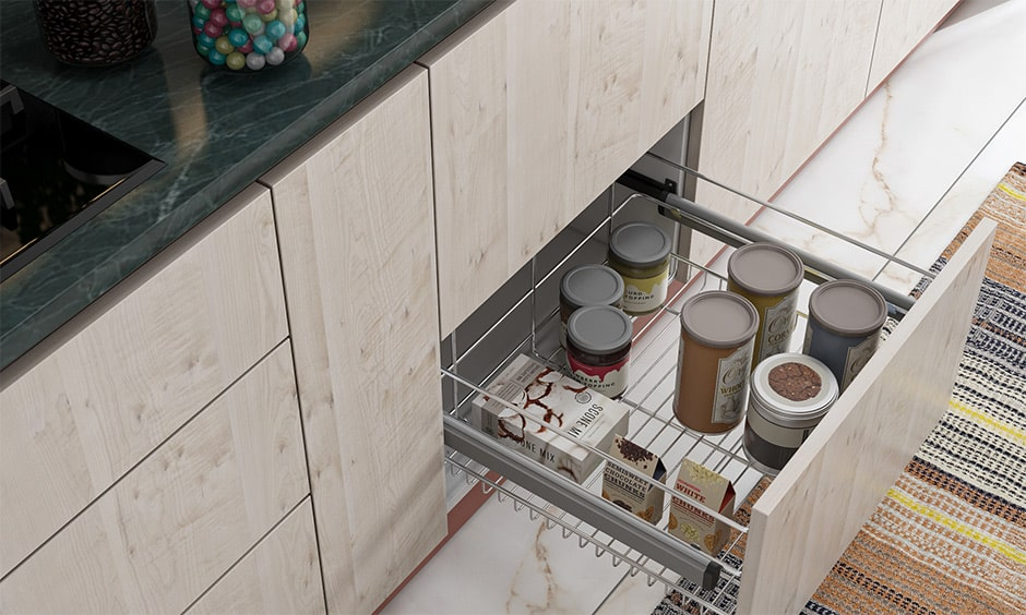 Kitchen utensil drawer organizer with wired basket drawers