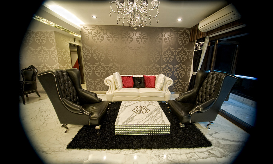 French-style types of living room with two black and white colour combination seating lends a classic French style.