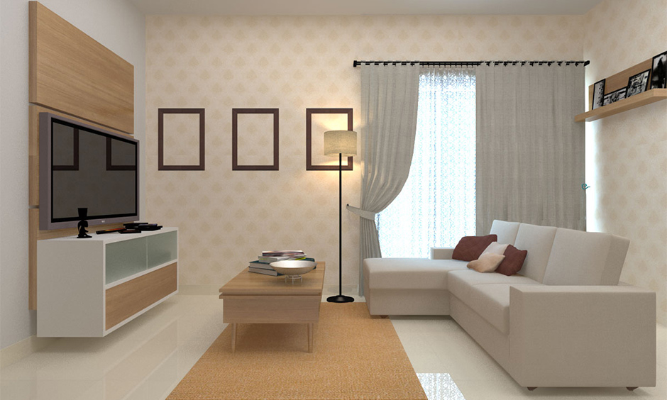 Simplistic modern living room with a half wallpaper and half paint wall, white sofa and coffee table looks adored.
